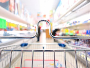 view of a shopping cart trolley at supermarket