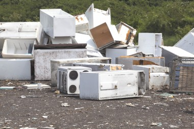 old appliances dumped at the landfill
