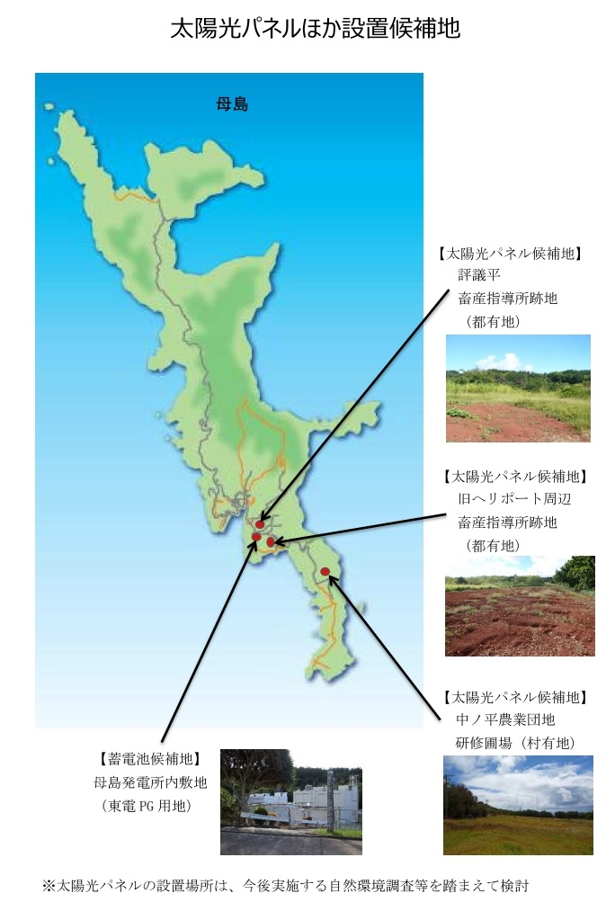母島内の太陽光パネル設置候補地。都所有の畜産指導所跡地など4カ所が示された(東京都提供)
