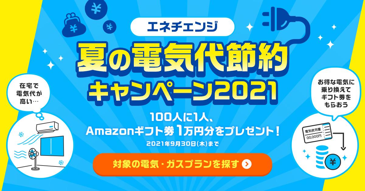 夏の電気代節約キャンペーン2021 100人に1人、Amazonギフト券1万円分をプレゼント!