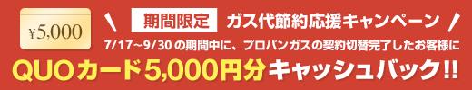 ガス代節約応援キャンペーン QUOカード5,000円分キャッシュバック!